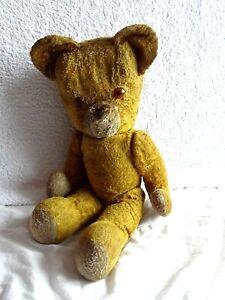 Ancien jouet peluche grand ours ourson articulé France O'Lis Années 40/50