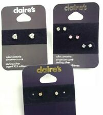 NEW ALL CLAIRE'S CUBIC ZIRCONIA SILVER STUD EARRINGS Accessories GIFT JOB LOT