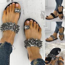 Women Ring Toe Slippers Rhinestone Slip on Bling Bling Sandals Casual Flat Shoes