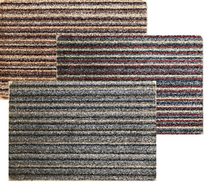 Natural Cotton Stripe Doormat Washable Mat Dirt Trapper + anti-slip backing