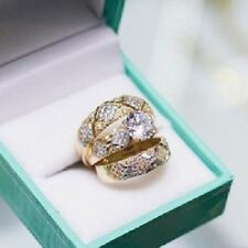 Diamond Wedding 14K Yellow Gold Over Trio His & Her Bridal Engagement Ring Set