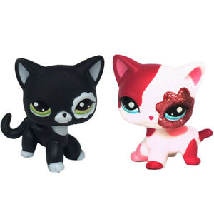 2 pcs LPS Toys #2249 #2291 Pet Shop Rare Short Hair Cat Birthday Gifts