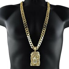 "Jesus Piece Iced-Out Head Face Pendant Gold Finish 33"" Long Cuban Hip Hop Chain"