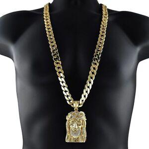 Men/'s 14k Gold Fn Jesus Face Piece Pendant And Box Chain Necklace Set