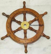 Vintage 18 Inch Captain's Wooden Ship Wheel Steering Pirate Brass Wooden Decor