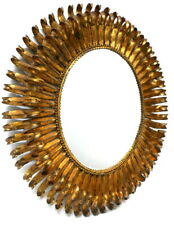 Stunning Vtg. Italian Eyelash Mirror Mid-Century Modern Regency Gold Gilt Metal