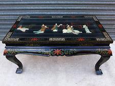 TISCH CHINA ÄLTER ANTIK ? FIGUREN 96cm BEISTELLTISCH black lacquer chinese table