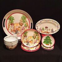 Christmas Puppies Melamine Dinnerware 14 Piece Deluxe Set (New) - FREE SHIPPING