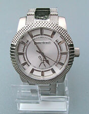 """NEW MARC ECKO MEN'S """"The Point"""" TEXTURED PATTERNED SILVER STAINLESS WATCH"""