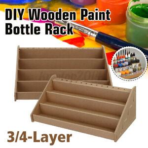 3/4 Layer Box Wooden Paint Bottle Rack Modular Organizer Storage Stand