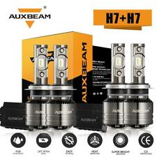 AUXBEAM H7 + H7 LED Headlight Kit Bulbs High Low Beam 6000K+Canbus Decoder T1 4X