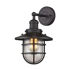 "ELK Lighting Seaport 1-Light 13"" Wall Lamp, Bronze/Clear - 66366-1"