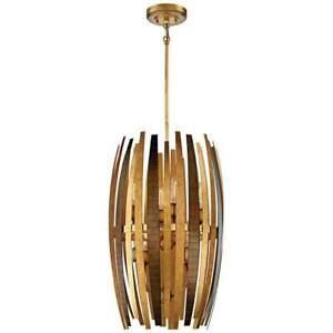 MCM Brutalist Gold Blade Petals Contemporary 8 Light Pendant Chandelier LARGE