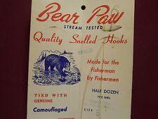 Vintage Bear Paw Fishing Hooks Package Livonia Michigan Great Graphics
