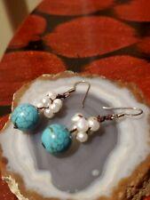 Beaded Pearls Dangle Earrings Artisan Handmade Round Turquoise