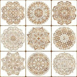9 Pack 12x12 inches Mandala Stencils for Painting on Wood Wall Floor Tile Fab...