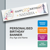 Personalised Birthday Banner 18th 21st 30th 40th 50th 60th 70th 80th 90th - D067
