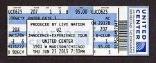 2015 U2 Concert 6/25 Full Ticket United Center Chicago Innocence Experience Tour