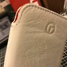 iPhone 8 Redneck Real Leather Slip Case Pouch White & Glass Screen Protector