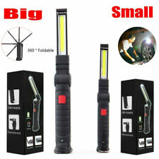 Magnetic Cob Red Led Work Light Lamp Usb Rechargeable Flashlight Folding Torch