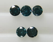 0.10cts 1.7mm 5pc Natural Loose Fancy Blue Diamond SI Clarity Round Brilliant