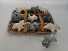 Hand Knitted Naughts & Crosses Game Hand Knitted Rabbits & Mice Pieces & Board