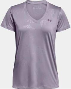 NWT Under Armour Velocity Wordmark Emboss Women's XL V-Neck S/S Purple T-shirt