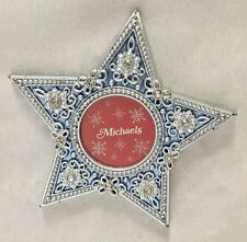 "Michaels Silvertone Blue 3.5"" Star with Rhinestones Frame Holds 1.5"" Round Photo"