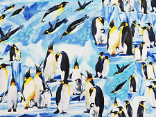 Wildlife Penguins in Water Blue Timeless Treasures Fabric #1990M By the Yard