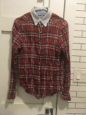 Cosmic Wonder Light Source 2 Distressed Red Plaid Shirt with contrasting collar