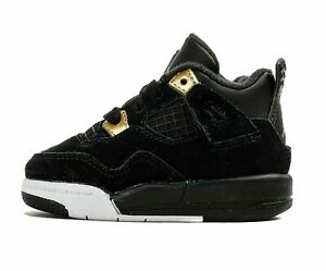 Nike Jordan 4 Retro BT 308500-032 Black White Gold Royalty Baby Shoes NEW IN BOX