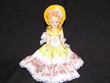 "Doll 7"" storybook ""Dress Me"" #1 Blonde Hair Sleep eyes Yellow pink rose dress"