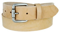 "Natural Finish Full Grain Leather Belt with Roller Buckle 1-1/2"" Wide"