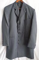 BOLTINI UOMO Size 44L Mens Jacket Sportcoat Seven Button Gray Striped Lined
