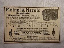 Werbung Inserat Anzeige Meinel & Herold Klingenthal Musikinstrumente 1914