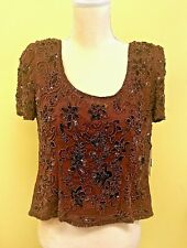 Adrianna Papell Evening Sequin Beaded Wine Silk Top Blouse NWT Size 10