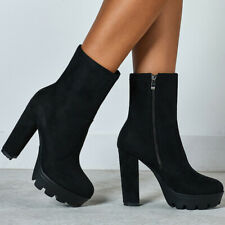 Gothic Women Platform High Heels Ankle Boots Casual Round Toe Zipper Chunky Shoe