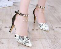Women's Sandals Shoes Rhinestone Pearl High Heels Printing Pointed Toe Stilettos