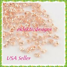 50pcs Rose Gold Clamshell End Bead Caps Tips 8x6x4mm Crimps Jewelry Findings