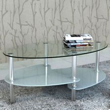 Glass Top Coffee Table Side Dinner Office Bedside 2 Tier White