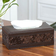 Car Home Rectangle PU Leather Vintage Tissue Box Cover Home Napkin Paper Holder