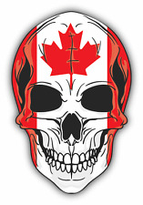"Skull Flag Canada Car Bumper Sticker 4"" x 5"""