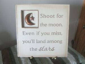 New View 'Shoot for the Moon' Tan 8 x 8 Wall Plaque Free Shipping