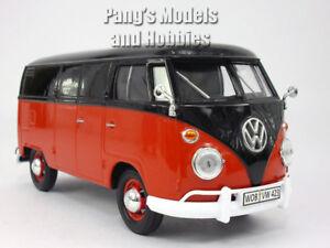 Volkswagen  VW T1 (Type 2) Delivery Bus Van 1/24 Scale Diecast Model - RED/BLACK