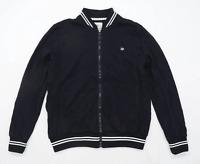 Hype Mens Size M Cotton Blend Striped Black Lightweight Bomber Jacket