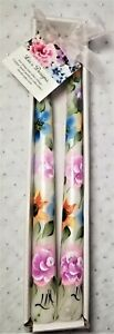 """Tapered Candle Sticks Multicolored Spring Flowers Hand Painted 10"""" Set Of 2"""