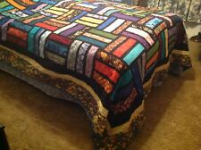 King Stained Glass Rail Fence Quilt