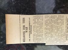 M3-9a ephemera 1941 dagenham ww2 article dr schulze gaevernitz reasons for war