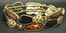 Nice Lia Sophia Costume Jewelry Bracelet Amber Brown Enamel Rhinestones