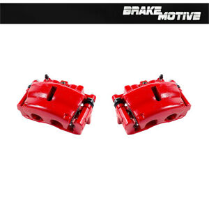 Front Red Brake Calipers For Buick Enclave Chevy Trailblazer GMC Acadia Envoy